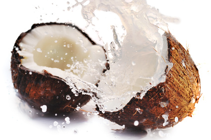 cracked coconut with splash